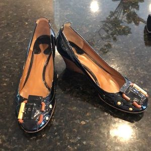 Chloe black patent leather wedge sz 39